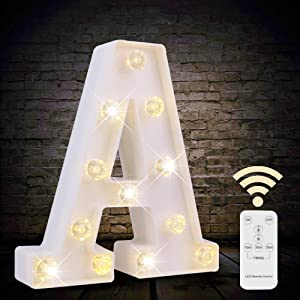 LED Letter Lights White Marquee Letters Alphabet Light Up Sign with Diamond Bulbs Remote Control Timer Dimmable Wedding Birthday Party Decoration Letters (A)