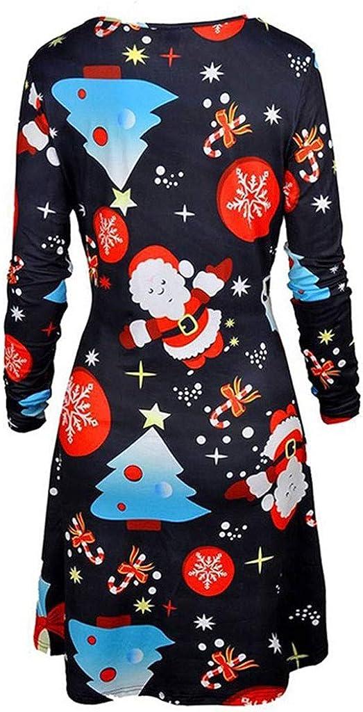 JIANGfu Women Christmas Printed Evening Prom Costume Swing Dress Ladies Casual Autumn Winter Xmas O Neck Long Sleeve Knee-Length Dress