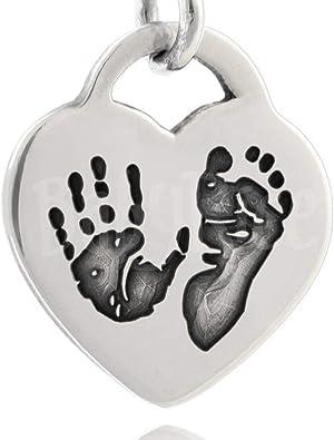 Bébé Empreintes de Pieds Pieds En Coeur Breloque 925 Argent Sterling