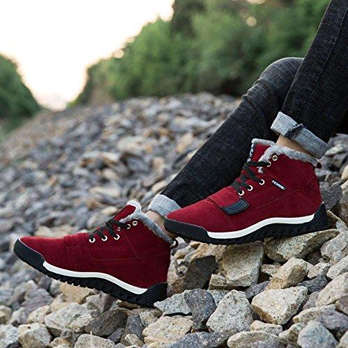 TPulling Herbst Und Winter Schuhe Mode Herren Baumwolle Plus Samt Gefütterte Outdoor-Skischuhe Schneeschuhe Rot