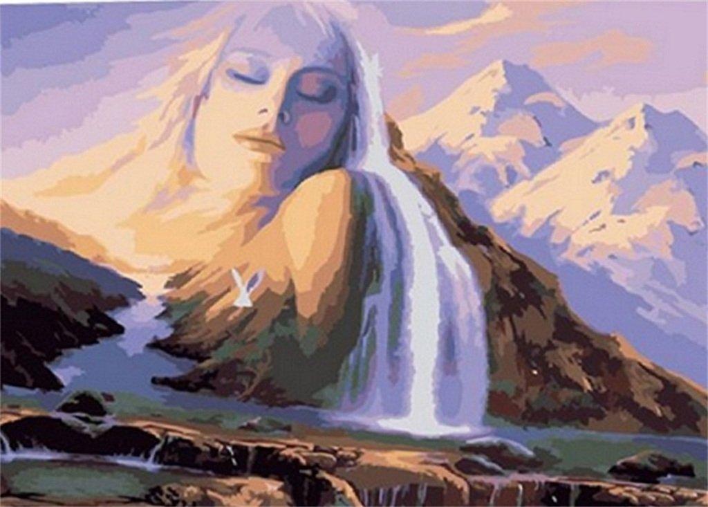 PaintingStudio hermosas mujeres de bricolaje pintura al oleo por el kit del numero cuadro de la lona 16x20 pulgadas (Enmarcado)
