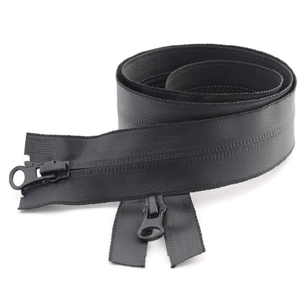 invisibile impermeabile in nylon giacca tenda 1 pezzo per cappotto Cerniera lampo n 5 Nero 60cm Double Sliders