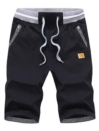 bf729b180dab SOIXANTE Bermuda Homme en Lin Tissu Confortable StyleTaille Elastique Corde  De Serrage