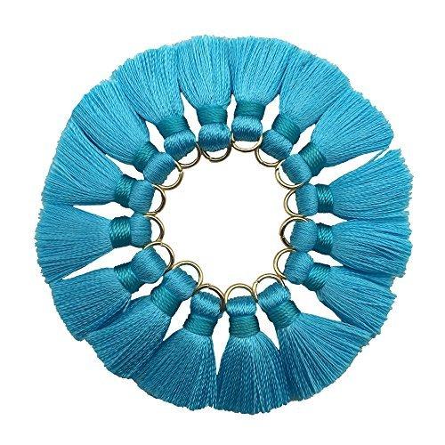 CHENGRU 2CM Mini Tassels For Jewelry Making,Diy,Jewelry Accessories,Pack of 10 Pcs(Blue)