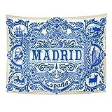 TOMPOP Tapestry Spanish Ornate Work Madrid Symbol Ceramic Tilework Azulejos Spain Closeup Tin Glazed Vintage Indigo Blue Home Decor Wall Hanging for Living Room Bedroom Dorm 60x80 Inches