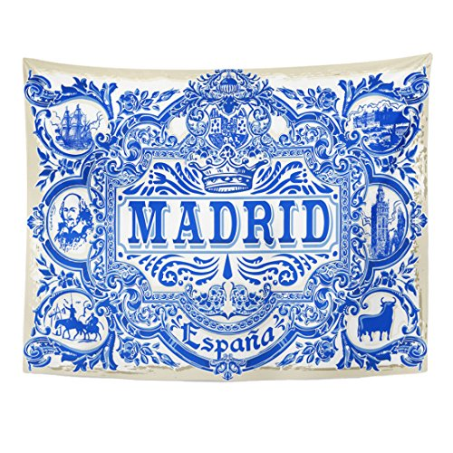 TOMPOP Tapestry Spanish Ornate Work Madrid Symbol Ceramic Tilework Azulejos Spain Closeup Tin Glazed Vintage Indigo Blue Home Decor Wall Hanging for Living Room Bedroom Dorm 60x80 Inches by TOMPOP