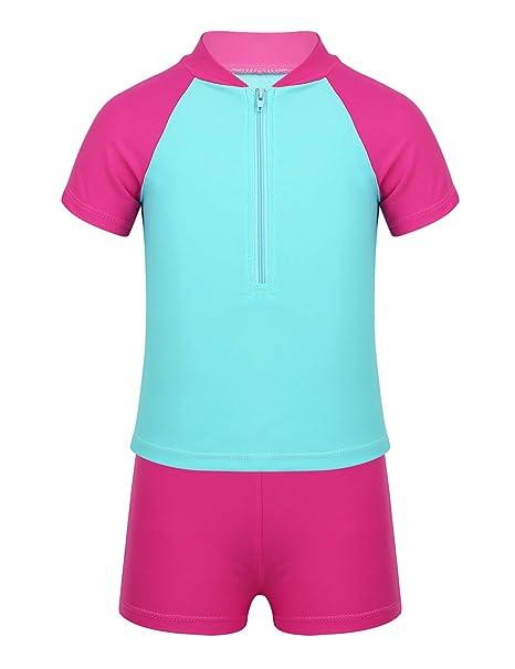 YiZYiF Traje de Baño Verano Anti UV para Niños Niñas 2 Piezas Tankini Bañador Camiseta Pantalones de Natación Piscina Surf 4-12 Años