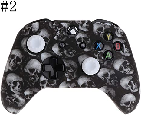 FangWWW Skull Pattern Silicone Gamepad Cover+2 Joystick Caps for XBox One X S Controller