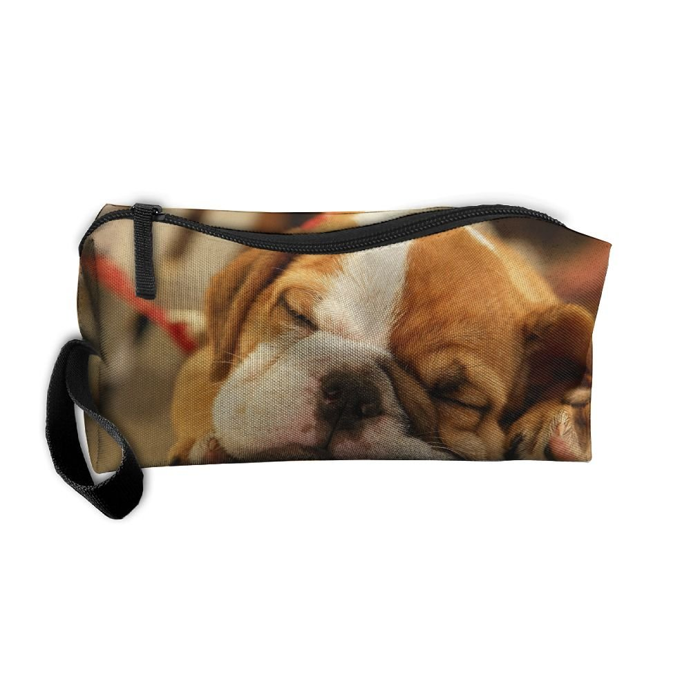 Durable Modeling Ewsda Sleeping Cute Bulldog Puppy Cosmetic Bag