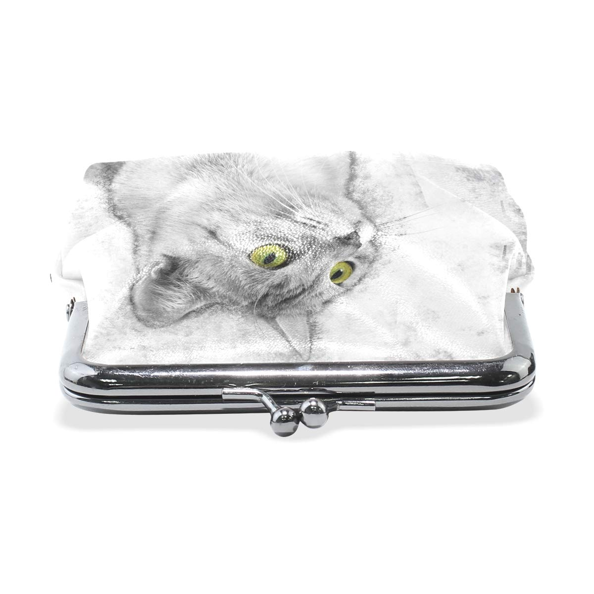 Women Wallet Purse Lovely Cat Watching Clutch Bag Leather