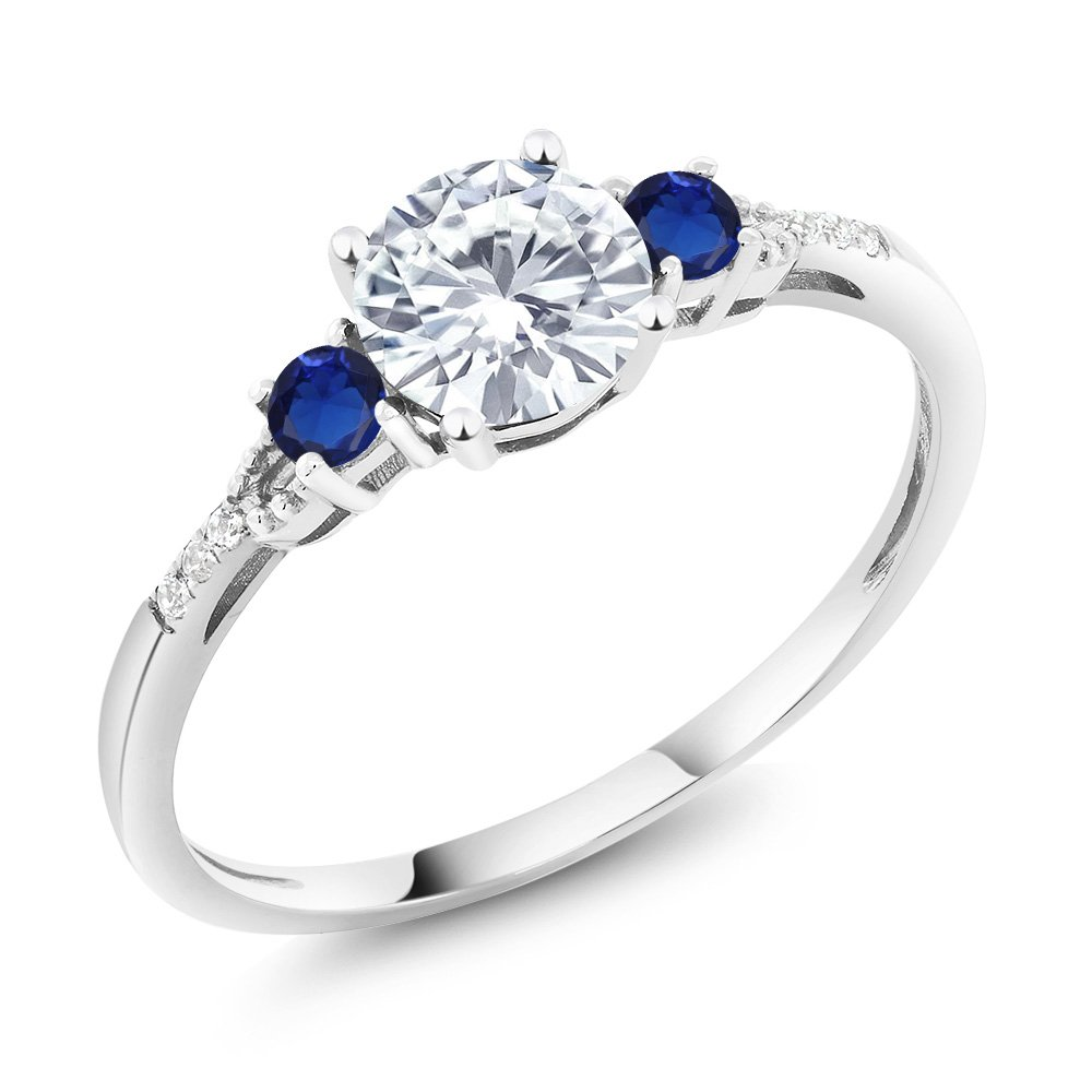 10K White Gold Diamond Accent Three-stone Engagement Ring White Created Moissanite Blue Simulated Sapphire (0.89 cttw, Available in size 5, 6, 7, 8, 9)