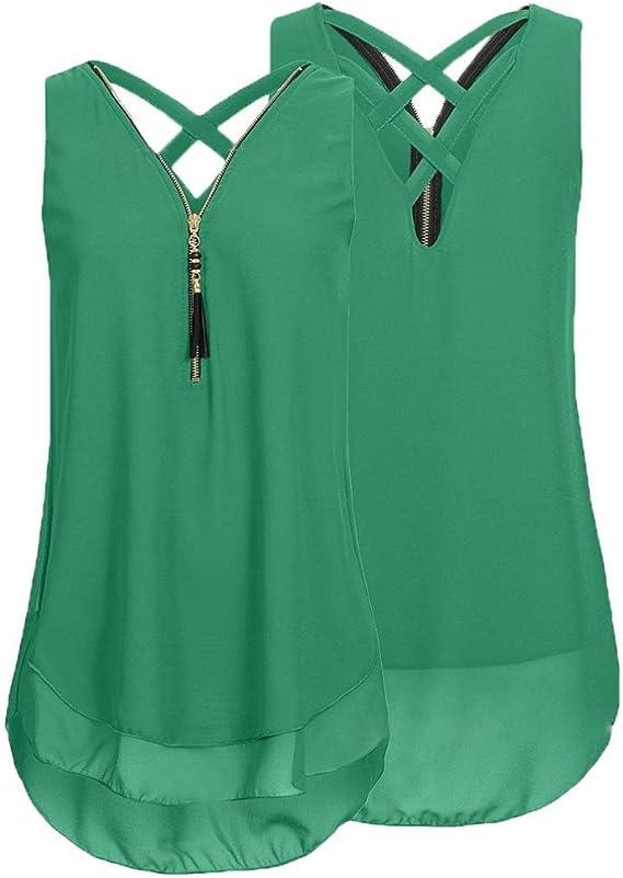 VANSOON Women Loose Sleeveless Tank Top Cross Back Hem Layed Zipper V-Neck T Shirts Tops Casual Blouses Vest Tops Camisoles