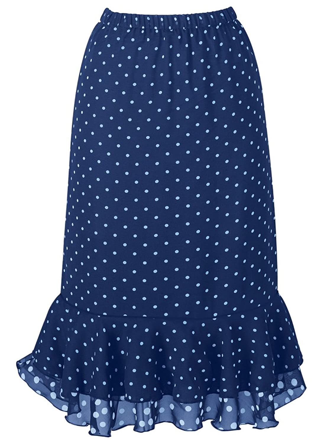 Retro Skirts: Vintage, Pencil, Circle, & Plus Sizes Dotted Flounced Skirt  AT vintagedancer.com