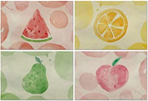 Artoid Mode Lemon Watermelon Pear Peach Placemat for Dining Table, 12 x 18 Inch Summer Fruit Holiday Rustic Washable Table Mat Set of 4