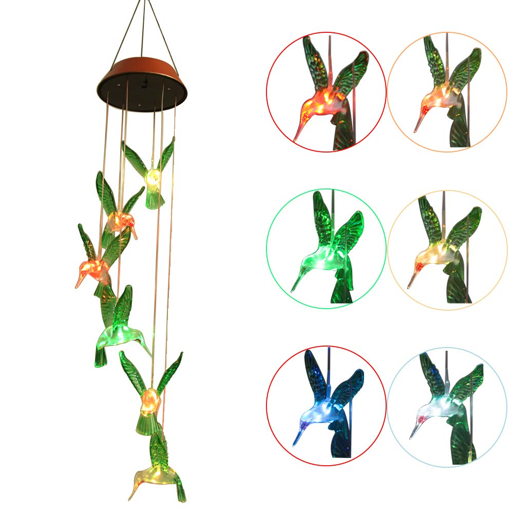 XYOP LED Wind Chime Solar USB Charge 2 in 1, Light Sensor LED Mobile Solar Wind Chimes Color-Changing Waterproof 6 Hummingbird Wind Chimes for Home, Party, Night Garden Decoration by XYOP