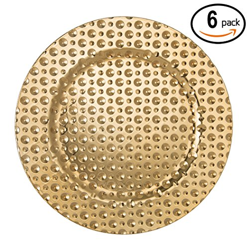 fantastic round 13 inch plastic charger plates with eletroplating finish 6 mutil hammer gold - Christmas Charger Plates