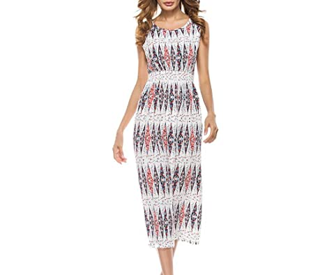 bb0f6276994 Emorpal Women Casual Boho Sleeveless Midi Dress Floral Summer Beach Party  Sundress (S