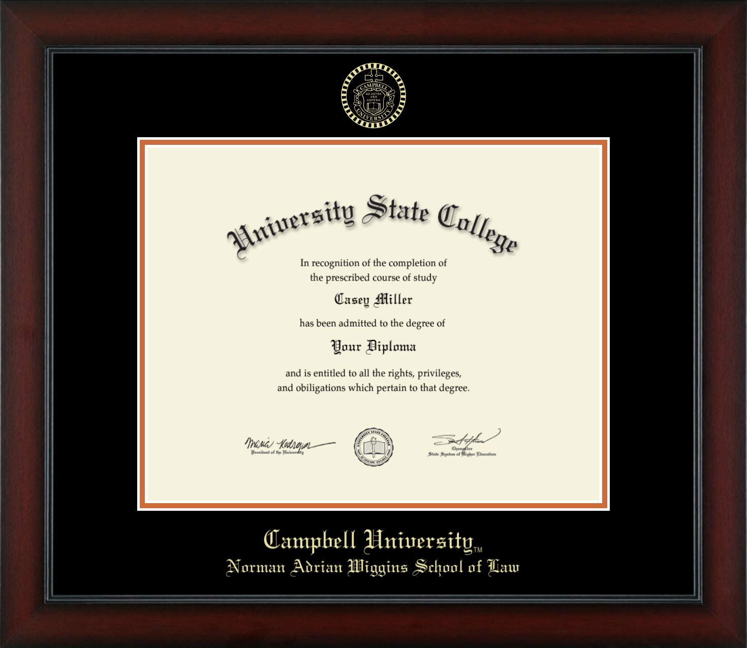 Campbell University Norman Adrian Wiggins School of Law - Officially Licensed - Gold Embossed Diploma Frame - Diploma Size 14'' x 11''