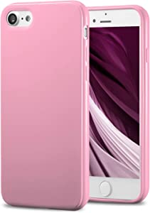TENOC Phone Case Compatible for Apple iPhone SE 2020, iPhone 8 & iPhone 7 4.7 Inch, Slim Fit Cases Soft TPU Bumper Protective Cover, Glossy Pink