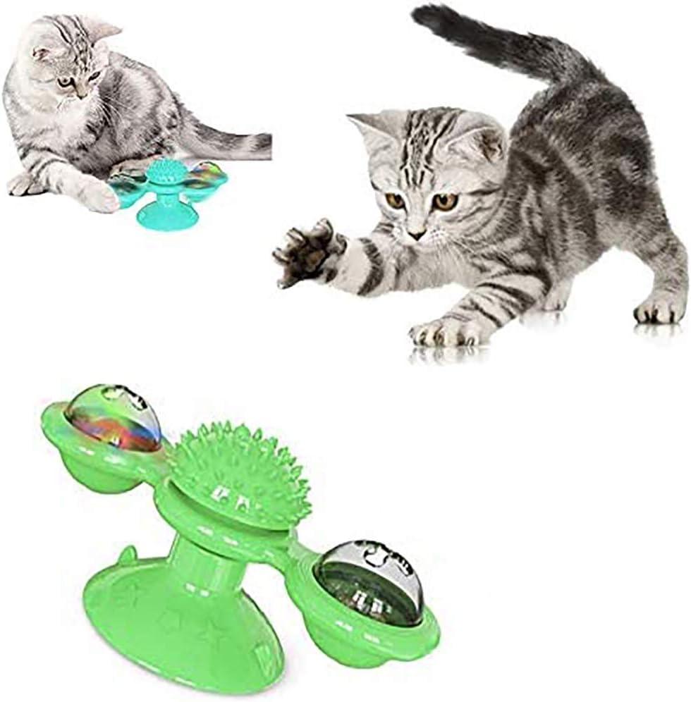 Juguetes divertidos del gato, gatito divertido del molino de viento construido bola Gatos bola giratoria LED hairbrush juguetes con hierba gatera 3 en 1 accesorios para mascotas multifuncionales