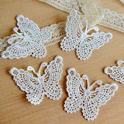 Cloudga Fashion Stylish Decor Sewing Embroidered Lace White Applique Ribbon Edge Trim Butterfly