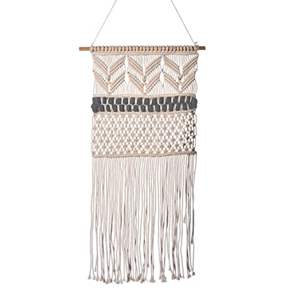 Sundlight Handmade Wall Hanging 50cm X 95cm Macrame Woven Wall Art Cotton Yarn With Wooden Sticks Boho Wall Decor For Kids Room Living Room