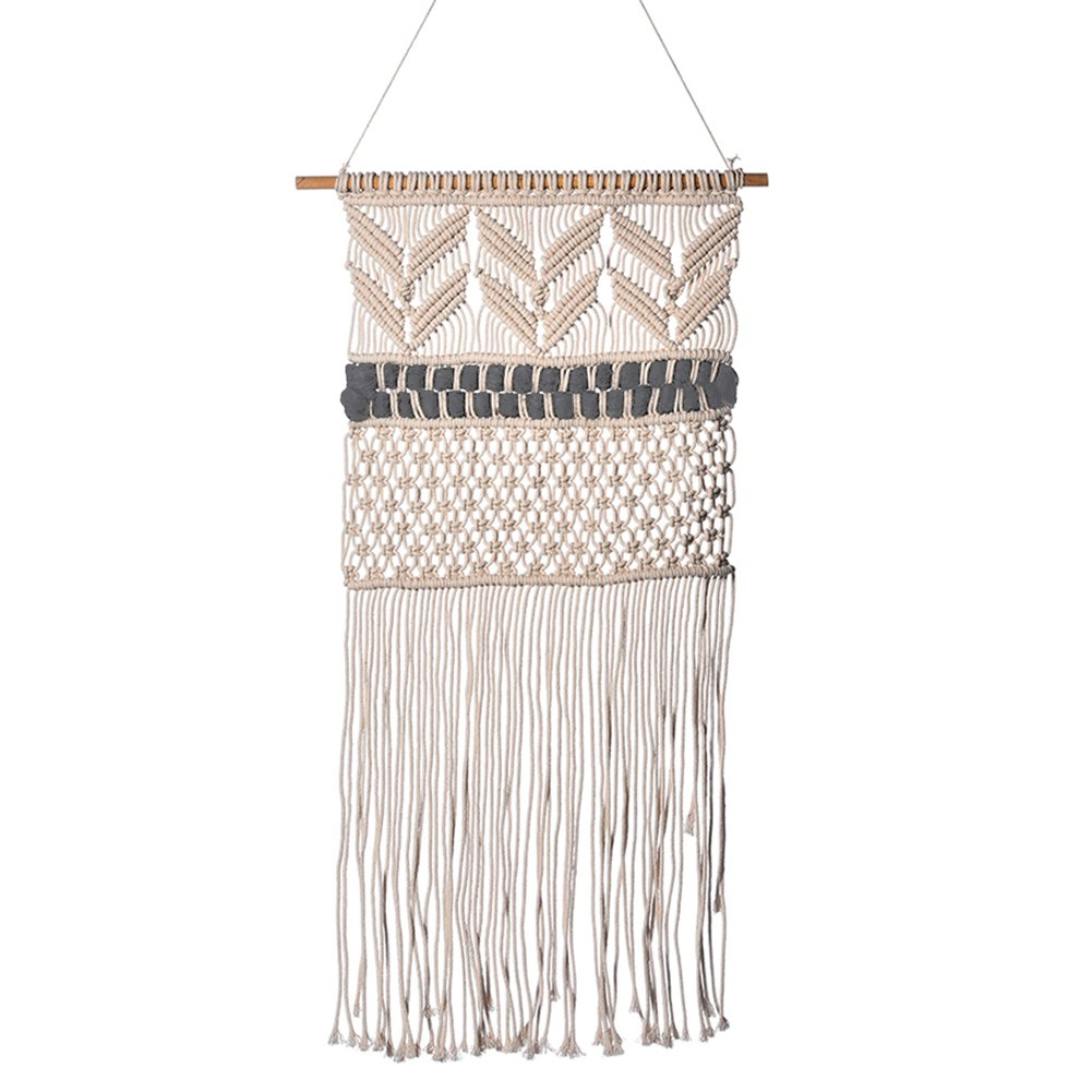 SHZONS Macrame Wall Hanging Tapestry, Boho Door Woven Textile Curtain for Living Room Bedroom Wedding Party Window Wall Decor,19.6×37.40 in