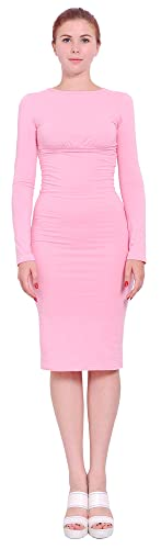 Marycrafts Womens Classic Long Sleeve Bodycon Slim Fit Midi Dresses