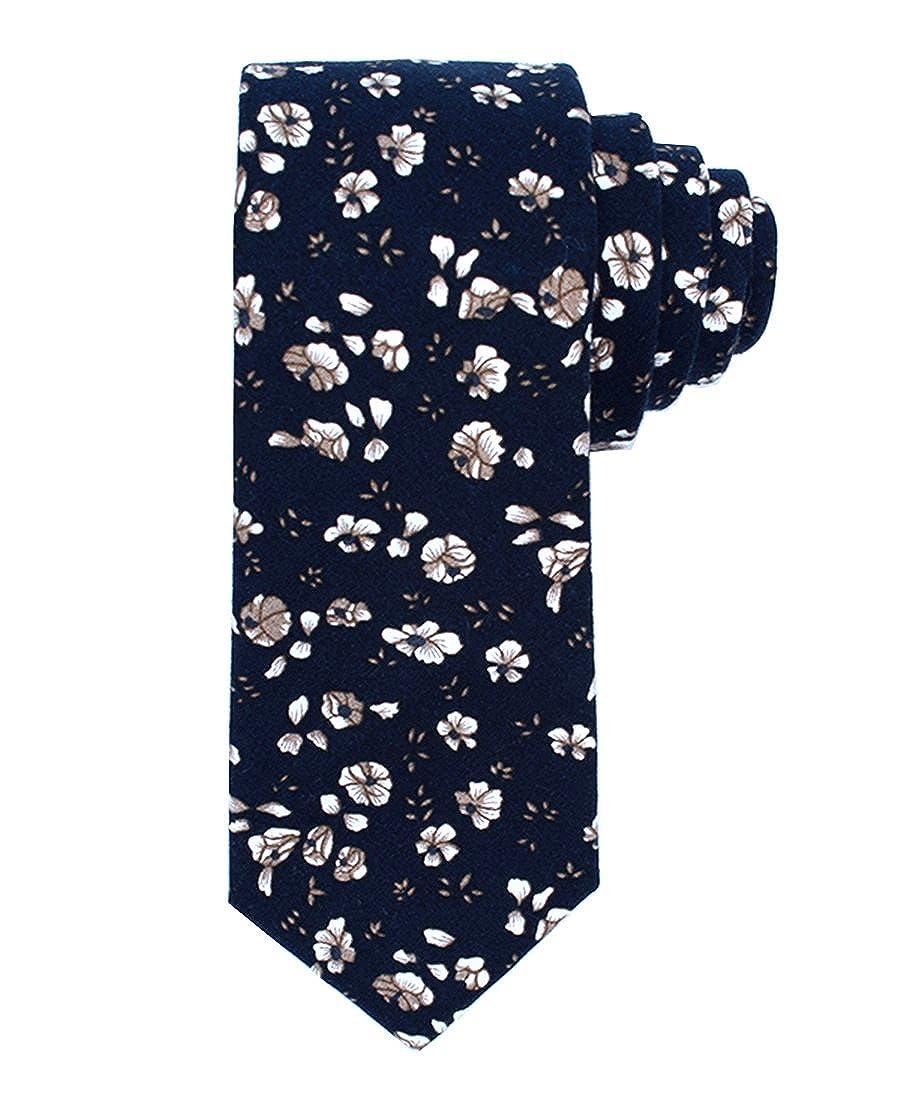 JESLANG Mens Cotton Printed Floral Ties 2.56' Skinny Narrow Tie Various Designs