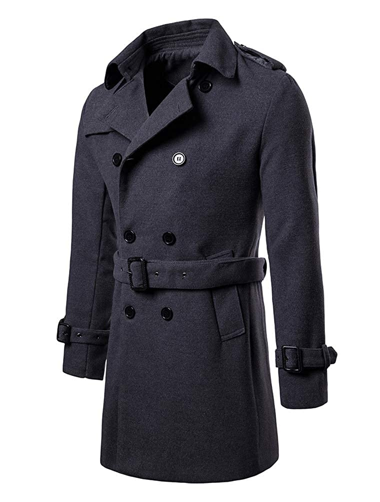 Mallimoda Homme Manteau Laine Slim Parka Casual Classique Duffle-Coat avec Ceinture