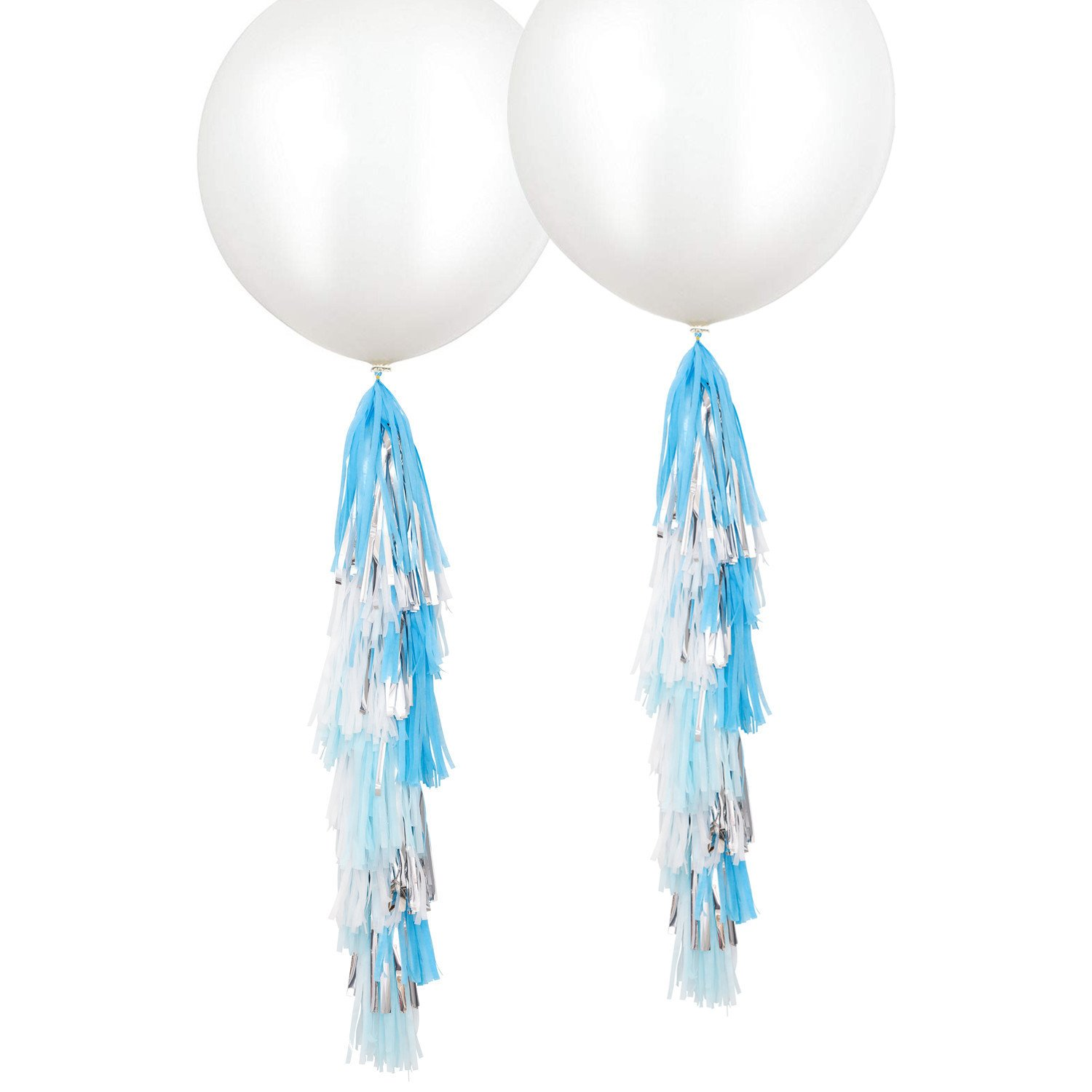Fonder Mols 2 Pack 36 inch Giant White Round Latex Balloons with Blue Turquoise White Silver Tassels Garlands for Nautical Anchor Frozen Party Hanging Decorations