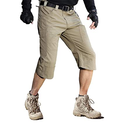 59cf776920 FREE SOLDIER Men's Capri Shorts Pants Casual 3/4 Water Resistant Multi  Pockets Tactical Cargo