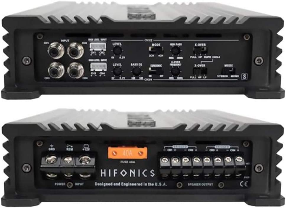 Hifonics 4 Channel Car Amplifier Car Electronics Audio Subwoofer 2 Ohm Stable Bass Boost MOSFET Power Supply for Speakers Sub Amp Class A//B Gemini Series Multichannel Amplifier 800 Watt