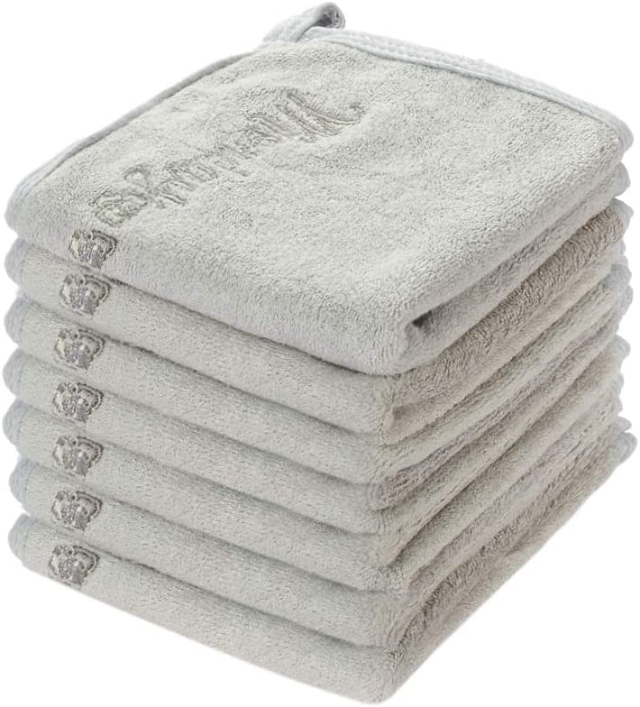 Size 10 x 10 500 GSM SAM /& SAM Premium Organic Bamboo Grey 7 Day Pack Washcloth TM  Exclusive Embroidered Design  Super Absorbent Double Layer Soft Washcloth Sized for Babies Toddlers and Kids