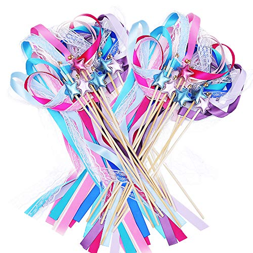 - Ribbon Wands Mix Color Chromatic Silk Ribbon with Bells Fairy Stick Wish Wands for Wedding Party Activities Gift(Pack of 20)