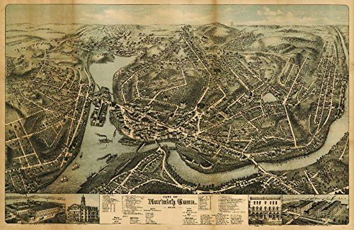 Norwalk, Connecticut - Panoramic Map (16x24 Fine Art Giclee Gallery Print, Home Wall Decor Artwork Poster)