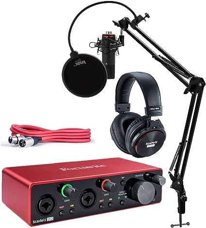 Focusrite Scarlett 2i2 Studio 3ª generación de interfaz de audio USB con herramientas profesionales, micrófono, auriculares, cable XLR, soporte Knox Studio, montaje a prueba de golpes y filtro Pop (7 artículos): Amazon.es:
