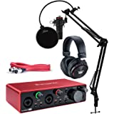Focusrite Scarlett 2i2 Studio 3rd Gen USB Audio Interface Bundle with Pro Tools First, Microphone, Headphones, XLR Cable, Kno