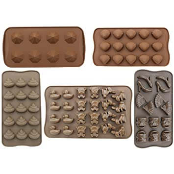 Anfimu Juego de 5 antiadherente de silicona Candy Chocolate hacer moldes bandeja para hacer para tartas
