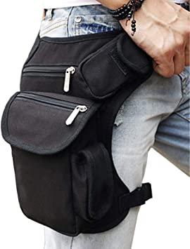 SAXTEL Mens Drop Leg Bag Canvas Waist Pack Motorcycle Riding Thigh Fanny Waist Packs Multi-Function Travel Fishing Hiking Cycling Sport Outdoor Use Casual Thigh Pack