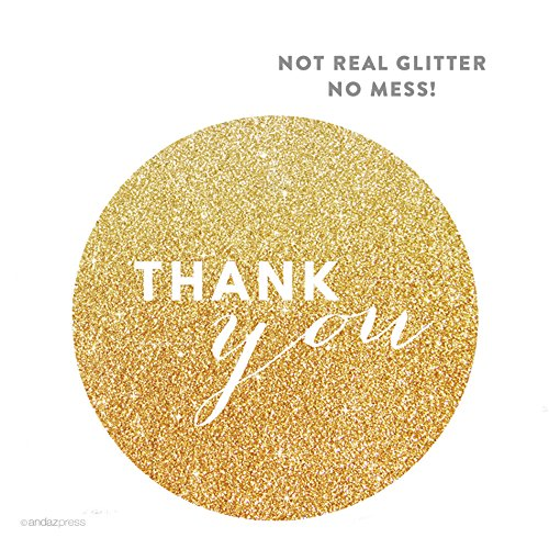 Andaz Press Circle Labels, Chic Style, Thank You, Printed Gold Glitter, 40-Pack