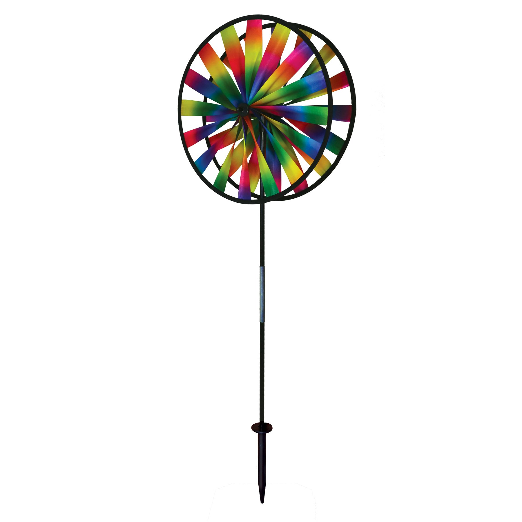 In the Breeze 2719 Kaleidoscope Double Wheel Spinner - Colorful Wind Spinner for your Yard and Garden