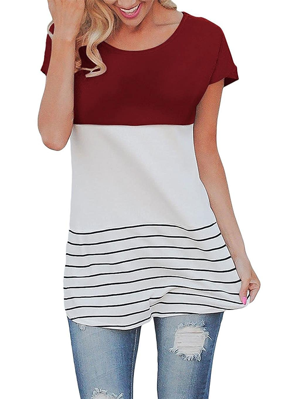 HAOMEILI Women/'s Back Lace Tops Color Block Short Sleeve T-Shirt Tunics Blouse