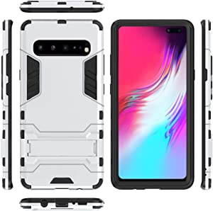 Galaxy S7Edge Case, Awesome Armor Foldable Movie Back Stand Slim Funda, TAITOU New Ultra Hybrid 2 In 1 Thin Anti Drop/Scratch Warrior Protect Phone Case For Samsung Galaxy S7 Edge Silver