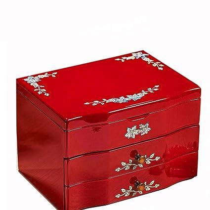 Littlefairy Caja Joyero,Joyero Madera Almacenamiento de joyería Anillo Collar Manualidades Caja 20 * 14