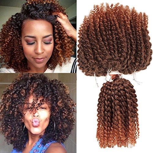 3pcs/pack Marley bob Kinky Curl 8 Inch Afro Kinky Twist Hair Soft Synthetic Crochet Braiding Hair Extention - Bob Curl