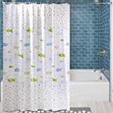 Uforme Sea Star Theme Pattern Shower Curtain Liner Waterproof, 100% Eco-friendly PEVA Bathroom Curtian Mildew Resistant with Rustproof Metal Grommets (72Wx78L, White)