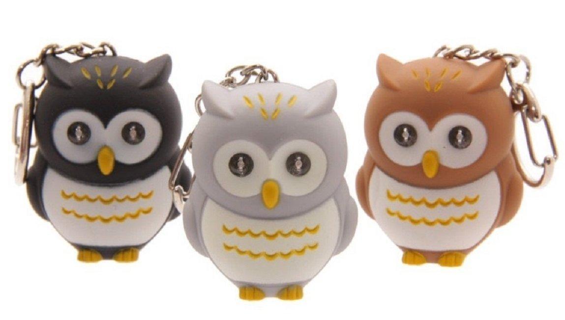 Hooting Owl LED Keyring Brillante Torch Keychain con Owl Sound