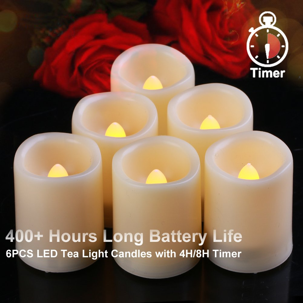 Homemory 6PCS Flameless LED Votive Candles Timer(4H/8H Mode), 400+ Hours Battery Candles, Melted-Edge, Warm Glow Light Global Selection HMVCWX13141