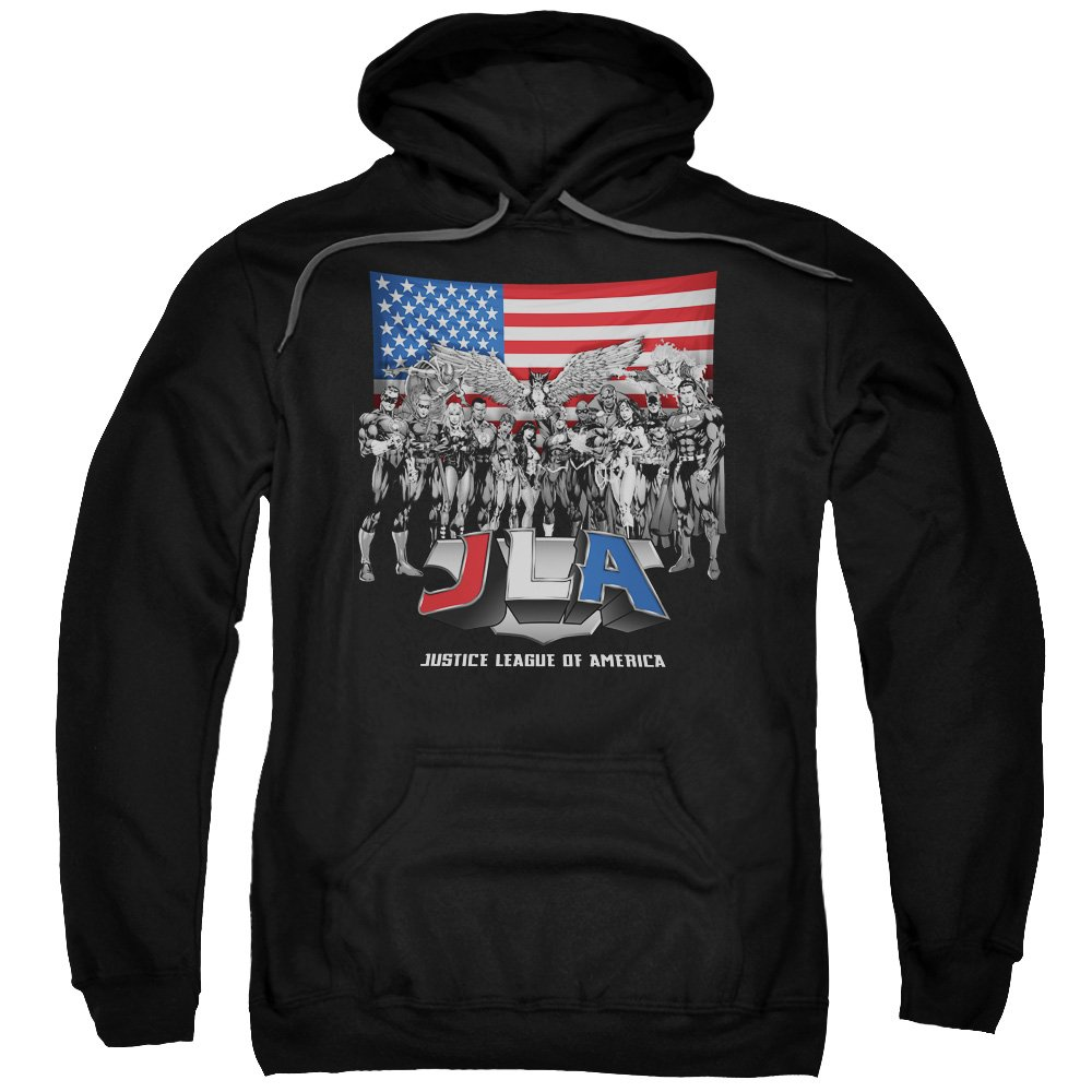 Small Trevco JLA-All American League Adult Pull-Over Hoodie44; Black